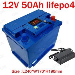 Lítio GTK bateria 12V 50AH lifepo4 BMS 4S 12.8 V bateria ciclo Profundo 26650 para carrinho de golfe RV speaker reboque de viagem + 5A Carregador
