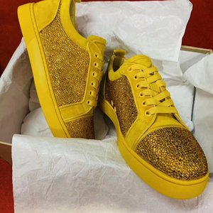 12 Style Daily Casual Walking Strass,Spikes,Leather Junior Men Red Bottom Sneakers Low Top Skateboarding Outdoor Brand Trainer With Box