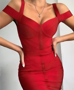 Femmes Mode Sexy Rouge Noir Robe Bandage 2020 Mesdames Designer Celebrity Dress Christmas Party Vestido