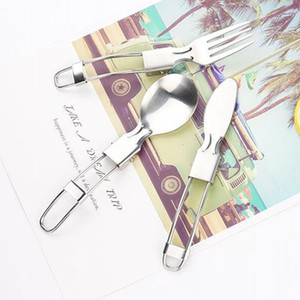 Outdoor Stainless Steel Folding Fork Cutlery Portable Picnic Tableware Camping Foldable Knife Spoons Lightweight Flatware Spoons DH1290 T03