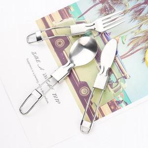 Acero inoxidable plegable al aire libre Tenedor Cubiertos de picnic portátil vajilla que acampa plegable del cuchillo de cucharas Ligera cubiertos cucharas DH1290 T03