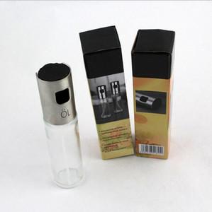 Bomba de oliva vidrio Botella para rociar la salsa de aceite de acero inoxidable Vinagre pulverizador barbacoa utensilios de cocina utensilios de cocina Olla Cocina Gadget 100ML LQPYW1107