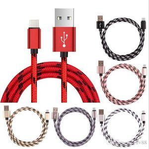 2.1A 1 m 3ft 2 m 6ft 3 m 10ft hızlı şarj Metal Örgülü Cooper Tel Sync Veri Şarj tipi-c Kablo smartphone için mikro usb DHL