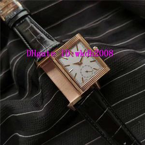 MG Reverso Tribute Duoface 398258J Relógio de luxo suíça 854A / 2 automática 18k Mecânica Mens Rose Gold relógio Sapphire couro impermeável Strap