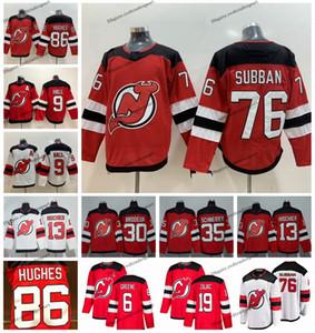 2019 New Jersey Devils 86 Jack Hughes 76 PK Subban 9 Taylor Hall 30 Martin Brodeur 35 Cory Schneider 13 Eishockeytrikots von Nico Hischier