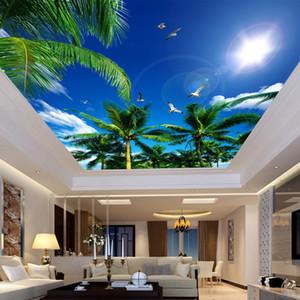 Personalizzato 3D Photo Wallpaper Blue Sky e nuvole bianche Alberi di cocco gabbiano da letto Soggiorno soffitto Wallpaper Murale