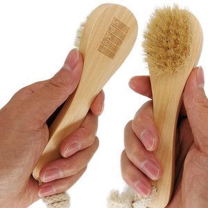 MOQ 50pcs OEM Boar Bristle Facial Brushes Shaving Brush Customized LOGO Wooden Handle Facial Cleaning Brush Skin Care Tool