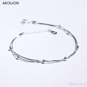 AKOLION Jóias De Prata Por Atacado Rodada Bead Bracelet 925 Sterling Jóias para Mulheres Menina Novo Design Presente