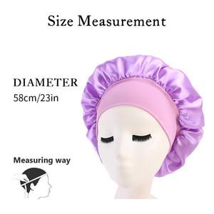 2020 Yeni Kadın Gece Uyku Şapkalar Geniş Bant Saten İpek Bonnet Cap Rahat Duş Caps Çiçek Saç Kapak Kemoterapi Şapka