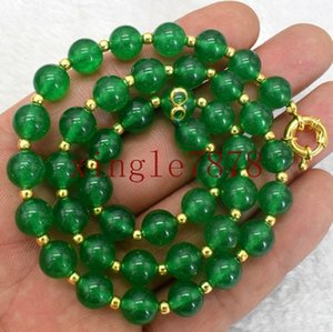 8mm natural green emerald round gemstone beads necklace 18 beautiful necklaces pendants supplies