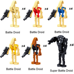 009-014 24 pc del commercio all'ingrosso giocattolo Space War Building Blocks super robot battaglia Droid Mini Action Figure Per Bambini