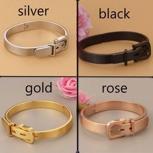 Men And Woman Silver Jewelry Hot Sale Creative Horseshoe Buckle Lovers Bracelet Women Vintage Belt Buckle Stainless Steel Love Bangles