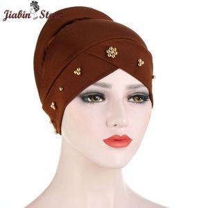 Muslim Women Stretchy Bead Cross Silky Sponge Turban Hat Cancer Chemo Beanies Cap Headwear Wrap Plated Hair Cover Accessories