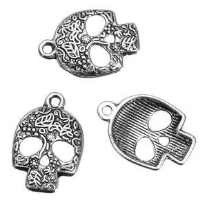 120pcs crâne de sucre Charms Pendentif gothique vintage Masque d'argent pour hommes, femmes Bijoux Faire Bracelet Halloween main bricolage Cadeaux