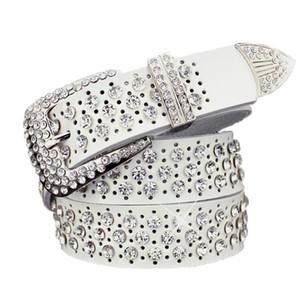 Nova moda designer de moda super luxo brilhante diamante de cristal de zircão belo cinto de couro para mulheres 110 centímetros 3,6 pés