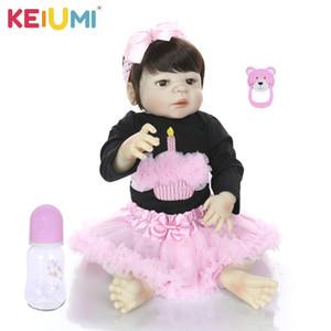 KEIUMI Lifelike 23 pouces Réincarné fille vivant Poupées Corps en Silicone Plein 57 cm réaliste New Born Bonecas Baby Dolls pour Kid Cadeau de Noël Y200111