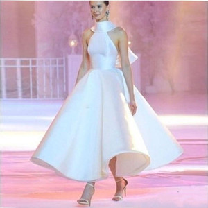 2020 белое бальное платье свадебные платья с высоким вырезом до щиколотки атласное свадебное платье без рукавов плюс размер свадебное платье