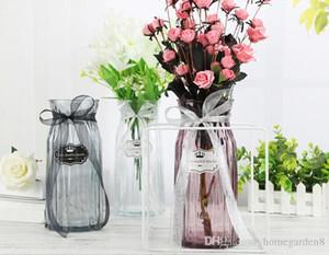 Цветные стеклянные вазы прозрачная ваза оригами цветок вставки творческий современный минималистский украшение дома украшения Столешница Vase