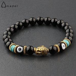 Jewelry & Accessories Charm Buddha&Evil Eye Bracelet Women 8mm Elastic Round Bright Black Stone Chakra Bracelets Men Erkek Bileklik Homme