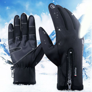 Nueva Negro pantalla táctil unisex termal del invierno caliente bicicleta de ciclo de los guantes de esquí en bicicleta al aire libre que acampa yendo de la motocicleta dedo ll