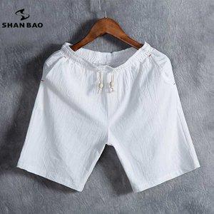 SHAN BAO brand мужская летняя мода сплошной цвет повседневные шорты тонкий дышащий хлопок белье свободные шорты белый черный серый синий