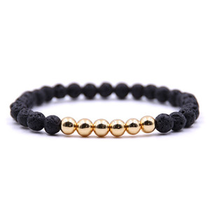 6MM Natural Black Lava Stone bead Bracelet DIY Aromatherapy Essential Oil Diffuser Bracelet For Women