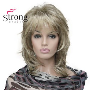 Cheap Synthetic None-Lace Wigs StrongBeauty Blonde Highlighted Long Soft Layered Shag Synthetic Wig for Women