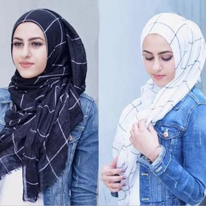 80*180cm Women Muslim plaid Scarf Ladies Shawls and Wraps Soft Female Foulard Hijab Stoles headscarf Arab scarfs with tassels
