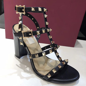 Новый роскошный дизайнер Стад Сандалии Натуральная кожа Slingback Туфли Дамы Сексуальные Высокие Каблуки 6.5 см 9.5 см Модные заклепки обувь 15 цвет