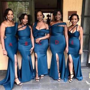섹시한 저렴한 인어 신부 들러리 드레스 플러스 사이즈 혼합 스타일 한 어깨 높은 사이드 스플릿 바닥 길이 웨딩 게스트 드레스 하녀 명예