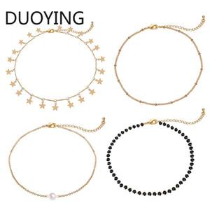 2019 Moda Altın Yıldız İnci gerdanlık kolye -4 Kadınlar Kız Bohemian Takı için adet Seti Dainty kolye el yapımı kolye