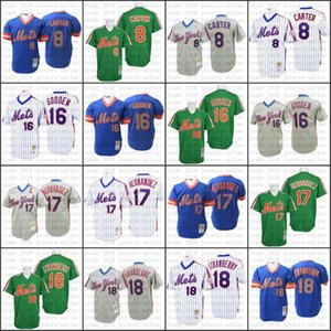 Cheap New Throwback York Mets Blue 1983 Gary Carter Darryl Strawberry Keith Hernandez Dwight Gooden Jersey , Men's Mitchell And Ness 011