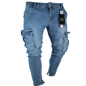 Jeans Mens Casual Projeto do bolso elástico na cintura lápis Slim Fit moda New estilo urbano vento fresco Pants