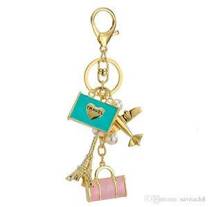 الموضة العالمية السفر مفتاح سلسلة المفاتيح - برج ايفل طائرة حجر الراين الحلي المرأة مجوهرات هدايا السفر محفظة حقيبة قلادة