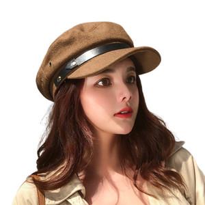 Sombreros de vendedor de periódicos de las mujeres Nueva moda Flat Top Octagonal Cap Ladies British Retro Youth Hat Otoño Invierno Casual Color Painter Hat