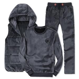 Зимняя мода Мужчины Спортивные костюмы балахон жилет + брюки + Блуза Золотой Бархат 3 Piece Set Tracksuit для мужчин Одежда