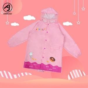 Water-changing children's raincoat midi raincoat with schoolbag cartoon pink cream ice creamSchoolbag ice cream