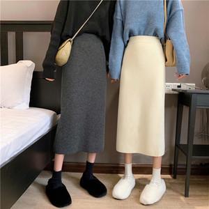 Pencil Skirt cintura alta Mulheres Primavera elegante malha Bodycon saia sólida Saias usar damas de escritório
