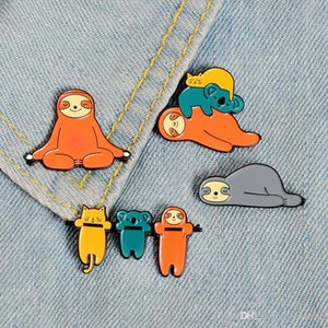 Cute Funny Sloth Enamel Pin Lazy Animal Koala Cat Badge Brooch Lapel Pins Denim Jeans Shirt Bag Cartoon Jewelry Gift for kids