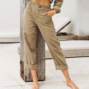 Los pantalones al por mayor del nuevo del algodón de lino pantalones las mujeres ocasionales flojas del color sólido 2020 pantalones anchos de la Mujer Pantalones Mujer Capris Verano Otoño