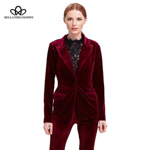 Bella Philosophy velvet blazer coat women suit blazer casual black coat female red for ladies outwears