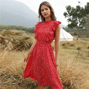 2020 Summer Dot Print Dress Women Casual Butterfly Sleeve Ruffles Medium Long Chiffon Dress