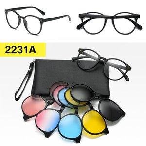Zerosun Clip on Polarized Sunglasses Women 5 Lens with TR90 Frame Magnetic Sun Glasses for Woman Driving Myopia Anti Reflect