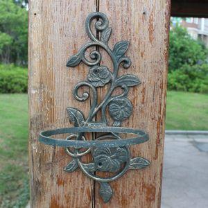 2 Stück aus Gusseisen Blumentopf-Halter Dark Green Pflanzkorb Planter Tray-Blumen-Form Topf Rack Wand befestigten Außen Garten Veranda Metall