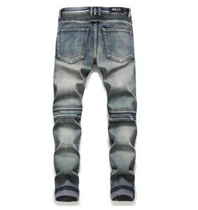 Clásica para hombre del motorista Jeans masculino delgado rodilla recta Drape panel de Moto del motorista los pantalones vaqueros destruidos rasgado Hip Hop Stretch Pantalones