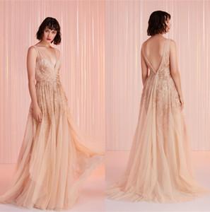 Fation Evening Dresses Deep-V Strap Dress Tulle Lace Dress Sweep Train Custom Made Sexy Prom Dress