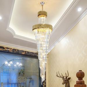lusso moderno lampadario di cristallo pendente grande oro nuovo progetto di illuminazione lungo nero lampade lampadari di cristallo a led per sala albergo scale di casa