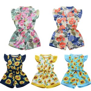 Mignon enfant en bas âge Bébés filles de tournesol Printed Romper Jumpsuit Combishort Tenues New Cute Girl Barboteuses Vêtements