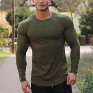 Sports Bottoming Tees Mens Solid Color Fitness Tshirts O-neck Longline Stylish Street Tops Long Sleeved