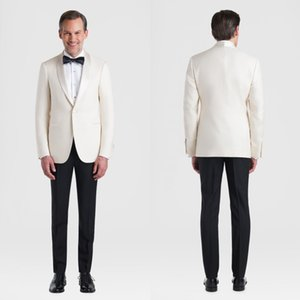Ivory Slim Fit Mens Suits Wedding Grooms Tuxedos Shawl Lapel Formal Blazer One Buttons Prom Suit Jacket And Pants With Bow Tie